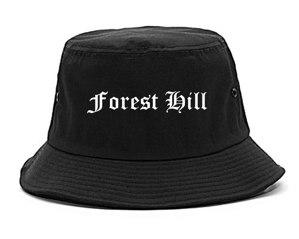 Forest Hill Texas TX Old English Mens Bucket Hat Black