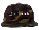 Frederick Colorado CO Old English Mens Snapback Hat Army Camo