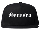 Geneseo New York NY Old English Mens Snapback Hat Black