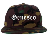 Geneseo New York NY Old English Mens Snapback Hat Army Camo