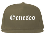 Geneseo New York NY Old English Mens Snapback Hat Grey