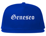 Geneseo New York NY Old English Mens Snapback Hat Royal Blue