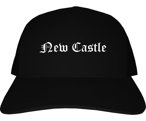 New Castle Delaware DE Old English Mens Trucker Hat Cap Black