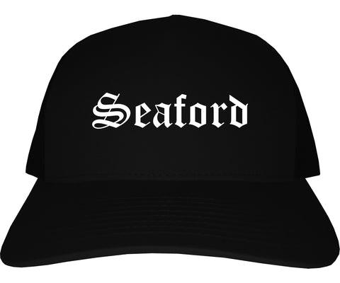 Seaford Delaware DE Old English Mens Trucker Hat Cap Black