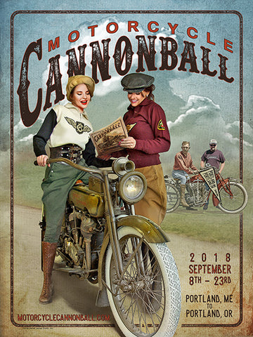 2018 Motorcycle Cannonball Artwork Poster