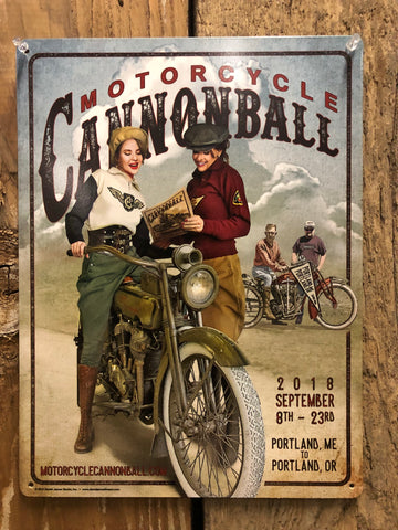 Limited Edition 2018 Motorcycle Cannonball Tin Sign 12x16