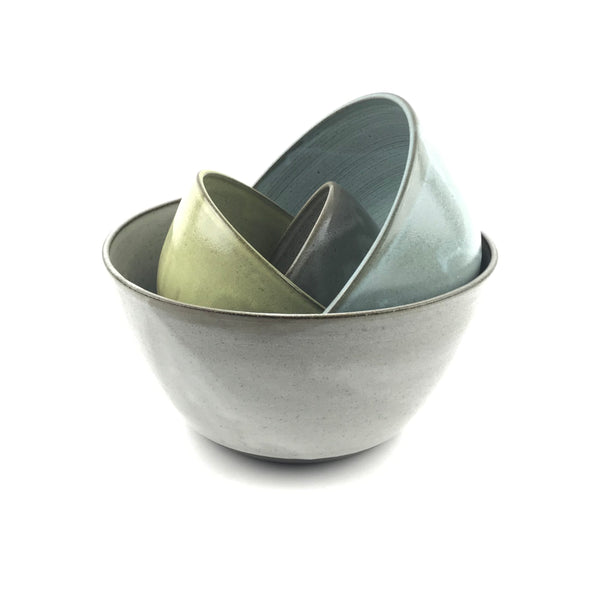 Multi Colored Nesting Bowl Set in Dark Clay