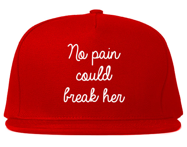No Pain Strong Woman Chest Red Snapback Hat