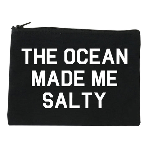 The Ocean Made Me Salty Black Makeup Bag