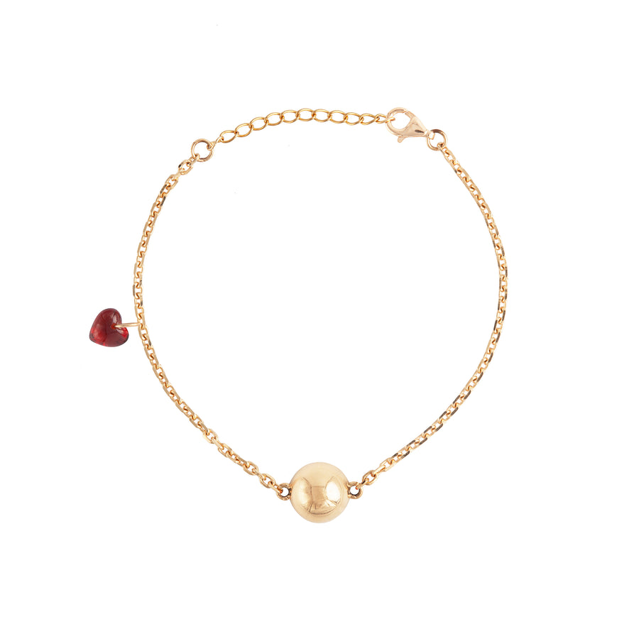 CHARM BRACELET WITH DOT AND HEART CHARM
