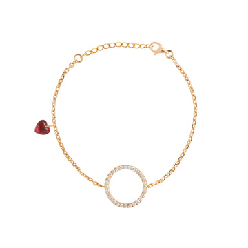 CHARM BRACELET WITH DIAMOND CIRCLE AND HEART CHARM