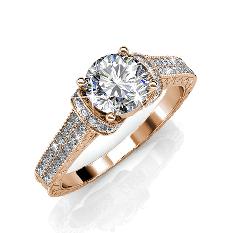 "Laya ""Ruler"" 18K Rose Gold Plated Swarovski Ring"