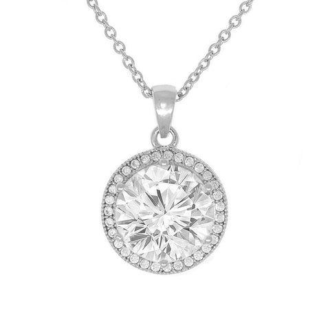 "Mariah 18k Gold Round Cut CZ Halo Pendant Necklace with 18"" Chain (6 COLORS)"