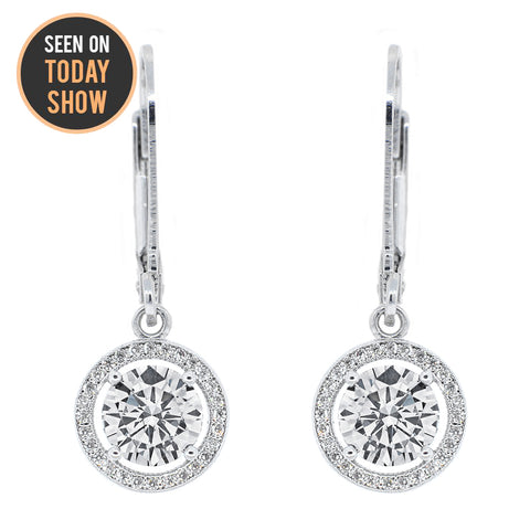 "Sienna ""Soar"" 18k White Gold Plated Round Cut CZ Crystal Halo Drop Earrings"