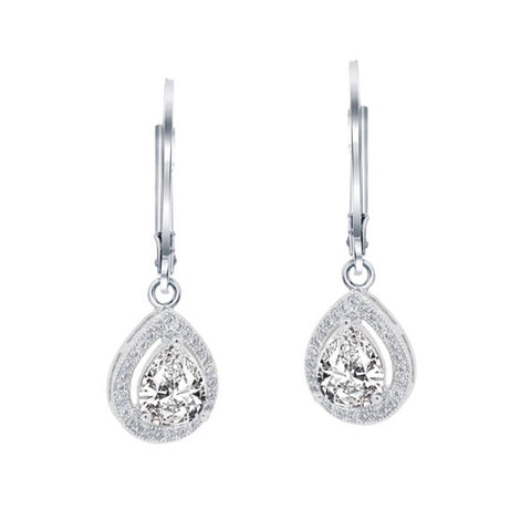 Izzy 18k White Gold Teardrop Cut CZ Halo Drop Earrings