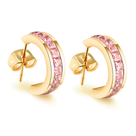 "Amelia ""Dainty"" 18K Yellow Gold Princess Cut CZ Huggie Hoop Earrings"