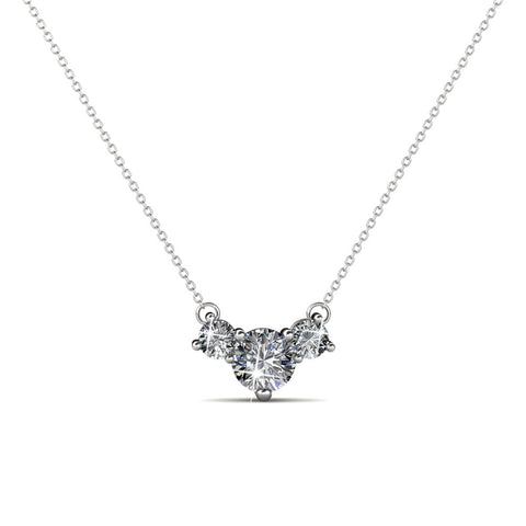 Cate & Chloe Calliope Poetic 3 Stone Pendant Necklace, Women's 18k White Gold Plated Necklace with Swarovski Crystals