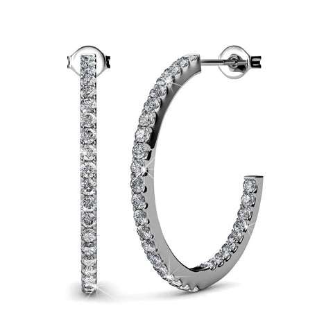 "Rosalyn ""Beautiful"" 18K White Gold Swarovski Open Hoop Earrings"