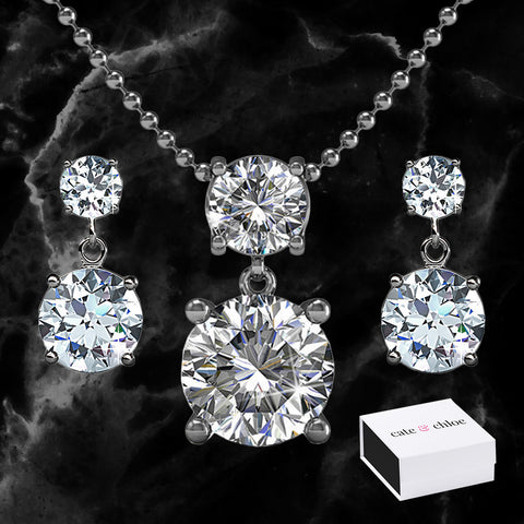"Jasmine ""Immortal"" 18k White Gold Plated Swarovski Necklace and Earrings Jewelry Set"