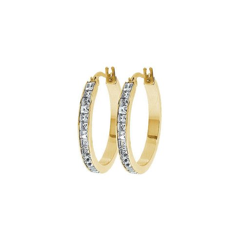 Jewelry, Earrings, Hoop Earrings - Isabella Diamond Simulated Hoop Earrings - 1""