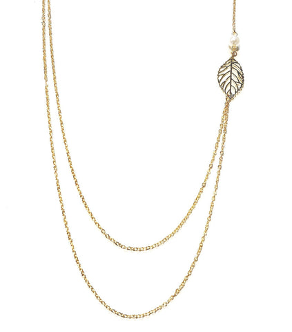 "Jewelry, Necklace, Layered, Gold - Ashlyn ""Nature"" Double Strand Leaf Necklace"