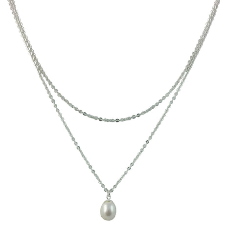 "Jewelry, Necklace, Pendant, Pearl - Julia ""Poised"" Layered Sterling Silver Pearl Necklace"
