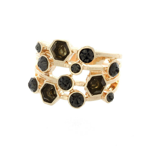 "Jewelry, Rings, Gold - Aubrey ""Fair"" Gold Stacked Jewel Ring"