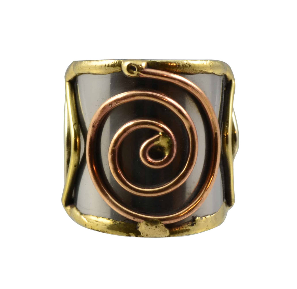 Anju Mixed Metal Adjustable Copper Spiral Cuff Ring in Stainless Steel, Brass and Copper