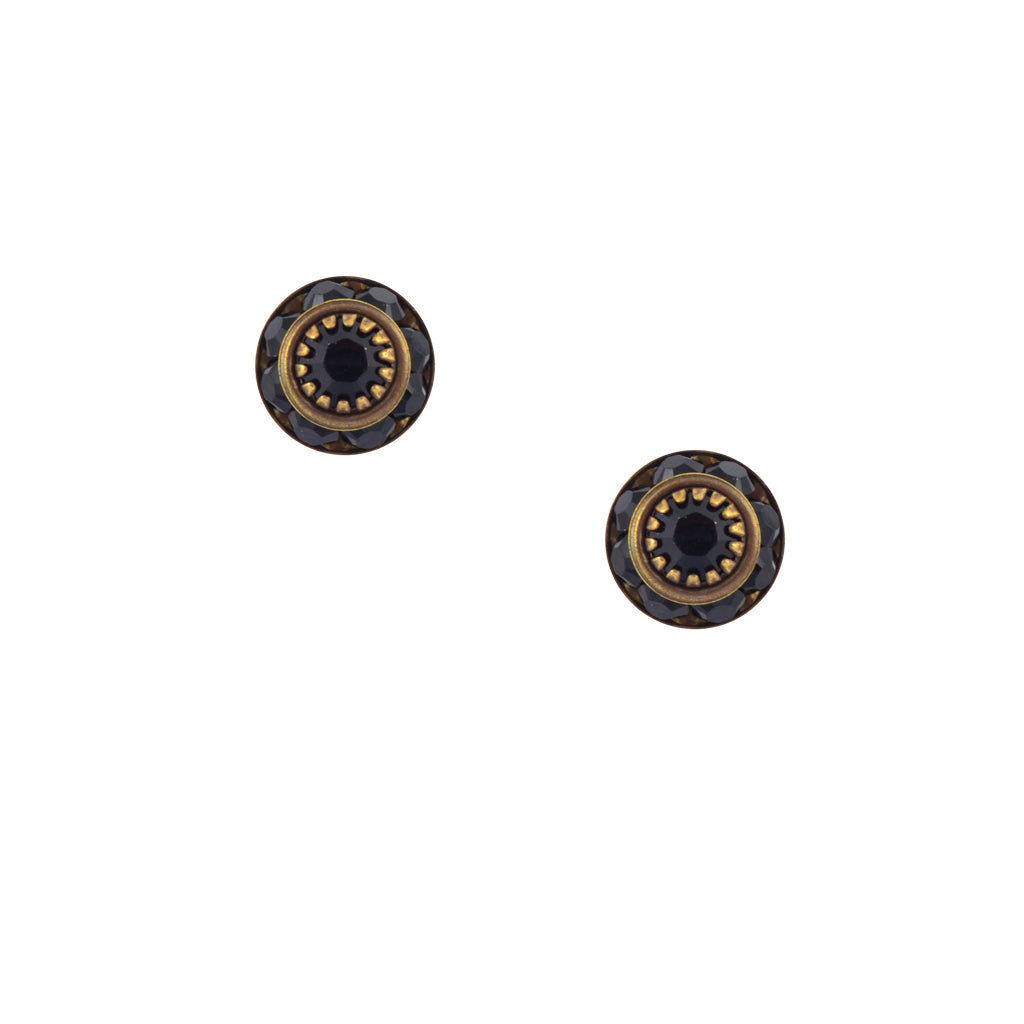 Caroline Heath Small Round Crystal Stud Earrings, Antique Brass Posts in Black