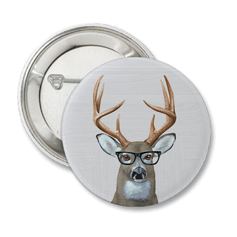 Deer Specs Round Button