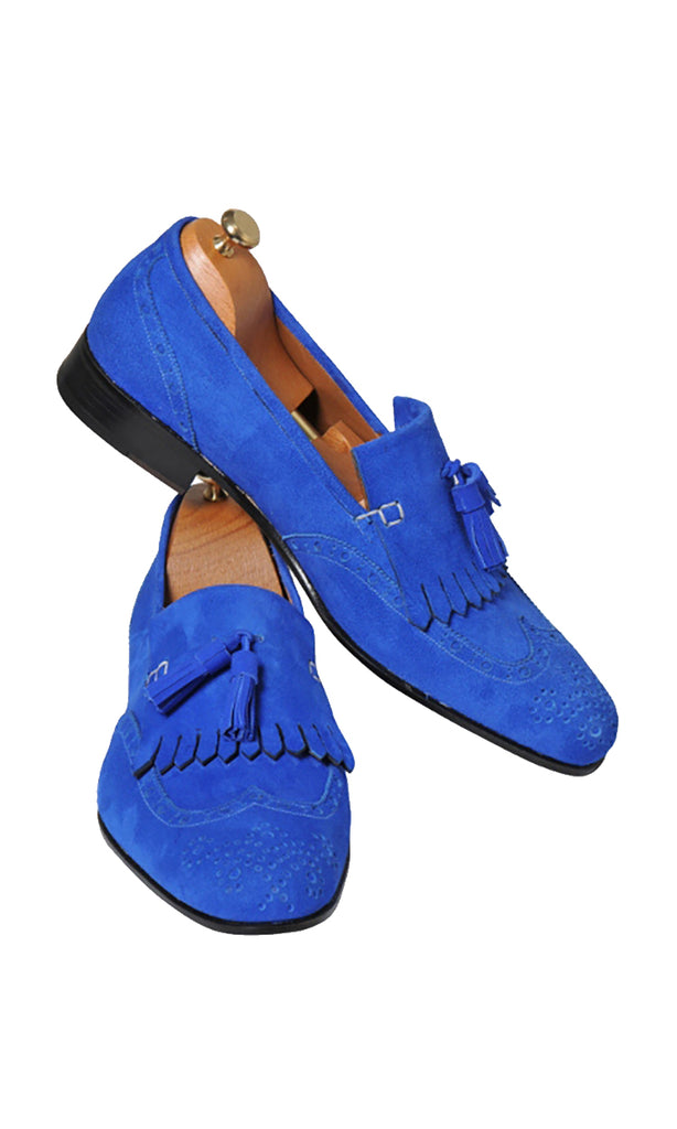 Handmade Saxe Loafer Suede Men Shoes