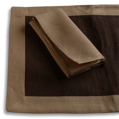Biancheria Amber/Brown Placemat/Napkin (set of 4)