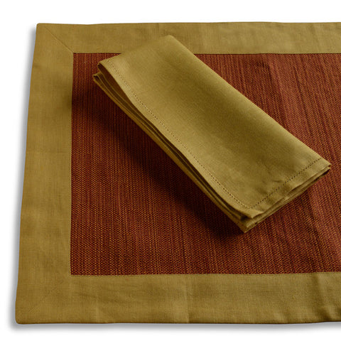 Biancheria Gold and Rust Placemat and Napkin