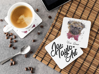 Personalised Pug Hardboard Coaster