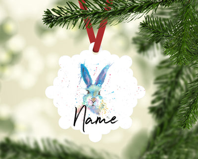 """Mr Bunny"" Personalised Aluminium Christmas Decoration"