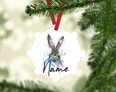 """Hi Hare"" Personalised Aluminium Christmas Decoration"