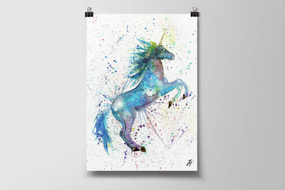 Blue Unicorn Art Poster Print