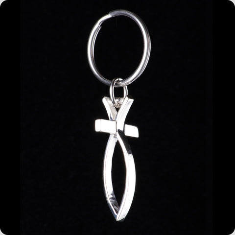 Sterling Silver Fish Cross Key Ring