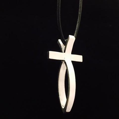 Large Sterling Silver Fish Cross Pendant