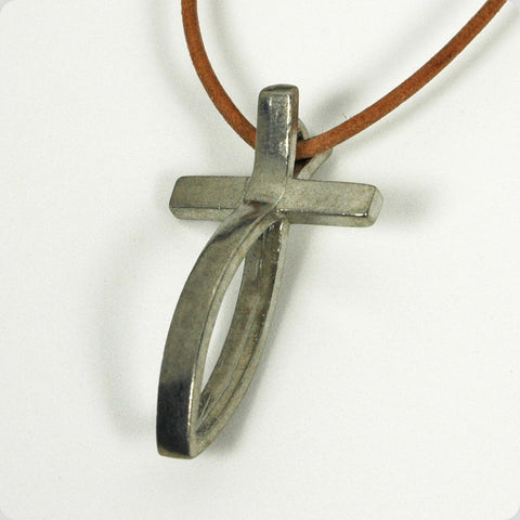 Large Pewter Fish Cross Pendant