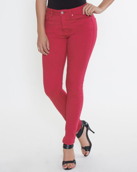 High Rise Color Denim- Crimson Red