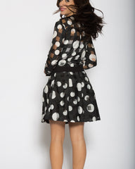WENS Apparel Polka Dot Skater Skirt in color Black and White