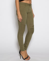 WENS Apparel Moto Skinny Denim Jean in Color Olive