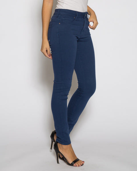 High Rise Color Denim- Electric Blue