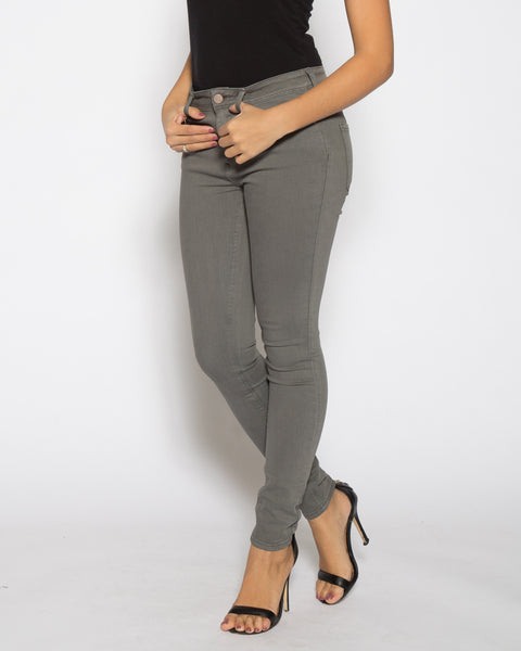 High Rise Color Denim- Grey