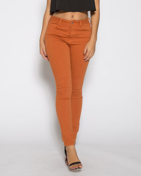 High Rise Color Denim- Bombay Brown