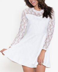 WENS Apparel Bella Lace Dress with long sleeves in White