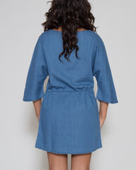WENS Apparel Sydney Denim Dress in Indigo Blue