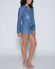 WENS Apparel Denver Chambray Romper in color Indigo