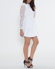 WENS Apparel Nicole Lace Dress in Color White